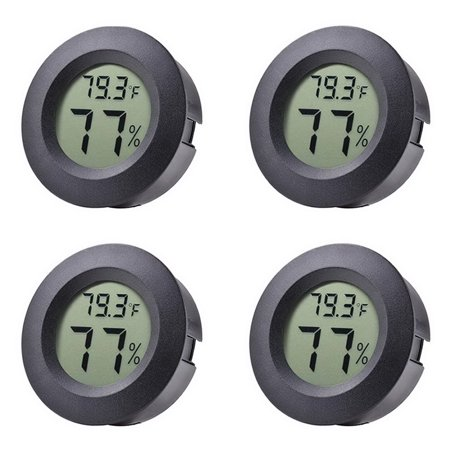 EEEKit 4-Pack Mini Hygrometer Thermometer with Digital Cigar LCD Display Indoor Temperature and Humidity Meter for Home Office Humidifiers Humidors Car Greenhouse Babyroom,Black Round ()