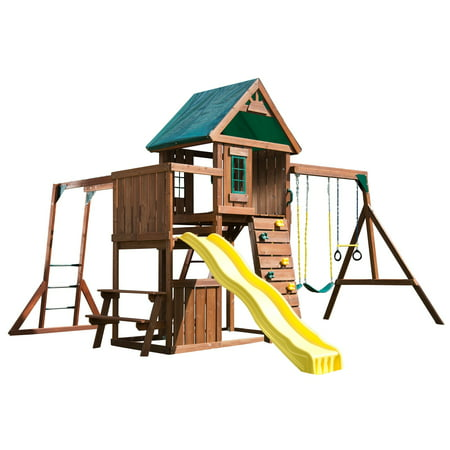 Swing-N-Slide Chesapeake Wooden Swing Set with Slide, Heavy Duty Swings and Monkey Bars