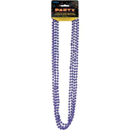 Metallic Mardi Gras Beads, 32 in, Purple, 4ct