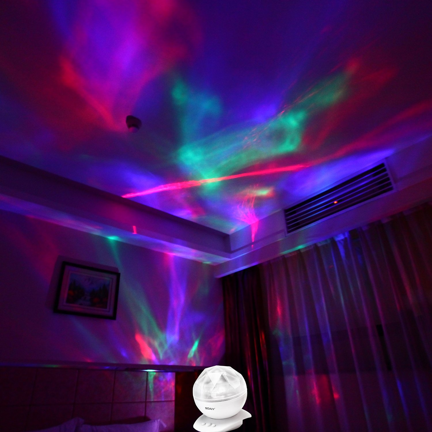 Soaiy Baby Night Light Projector Ocean Wave Lighting Lamp Aurora Lights With Remote Control Timer Music Player 8 Color Options For Kids