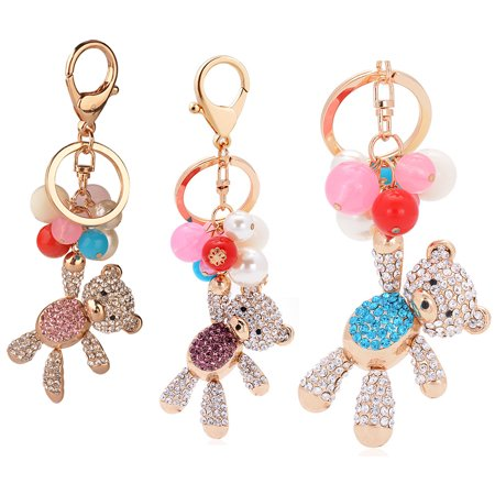 Heepo Cute Bear Colorful Bead Shiny Rhinestone Key Ring Handbag Charm Pendant Keychain