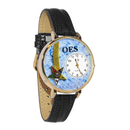 Whimsical Order of the Eastern Star Navy Blue Leather And Silvertone Watch