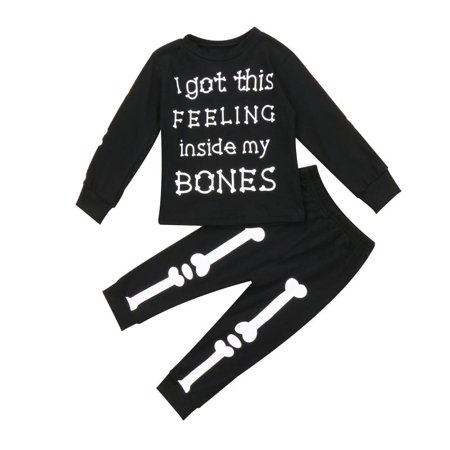 Toddler Baby Boys Girls Bones Halloween Outfit 2PCS T-Shirt Top and Leggings Pants Black Costumes Clothes