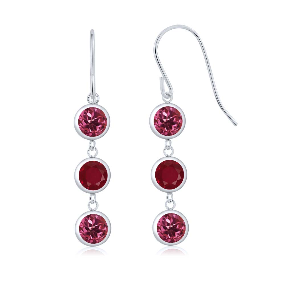 3.10 Ct Round Pink Tourmaline Red Ruby 925 Sterling Silver Earrings by