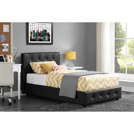 dakota faux leather upholstered bed black multiple sizes - Upholstered Bed Frame
