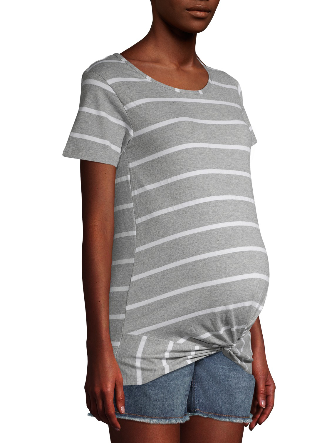 Oh Baby by Motherhood Womens Ruffle Ruched Tee