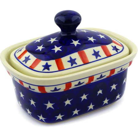 Polish Pottery 6¼-inch Butter Dish (Americana Theme) Hand Painted in Boleslawiec, Poland + Certificate of Authenticity ()