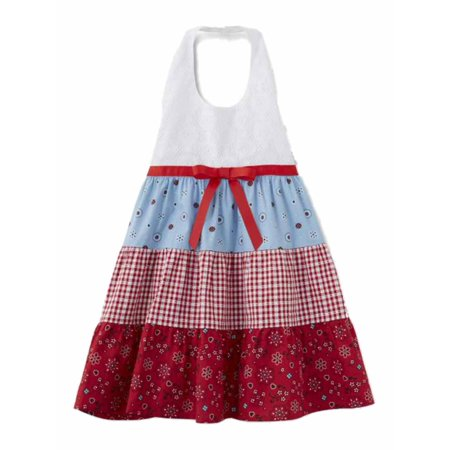 Blueberi Infant & Toddler Girls Bandana Gingham Check Dress Halter Sundress