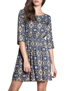 8681bd4b194 Product Image Women s Floral Prints 3 4 Sleeves Elastic Waist A Line Dress  Blue (Size XL