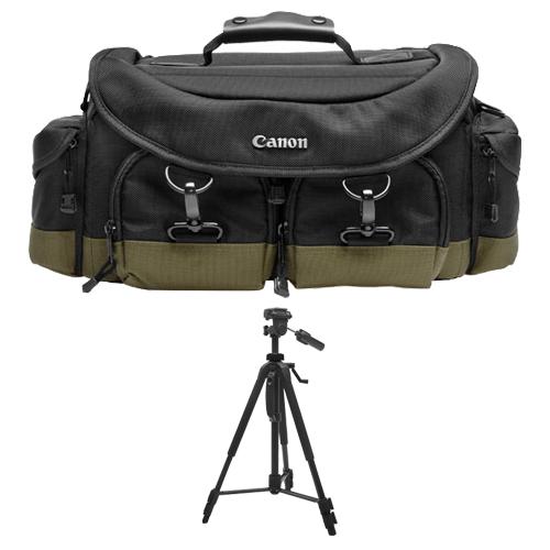 Canon 1EG Digital SLR Camera Case Gadget Bag + Tripod for EOS 6D, 70D, 7D, 5DS, 5D Mark II III, Rebel T3, T3i, T5, T5i, T6i, T6s, SL1 DSLR