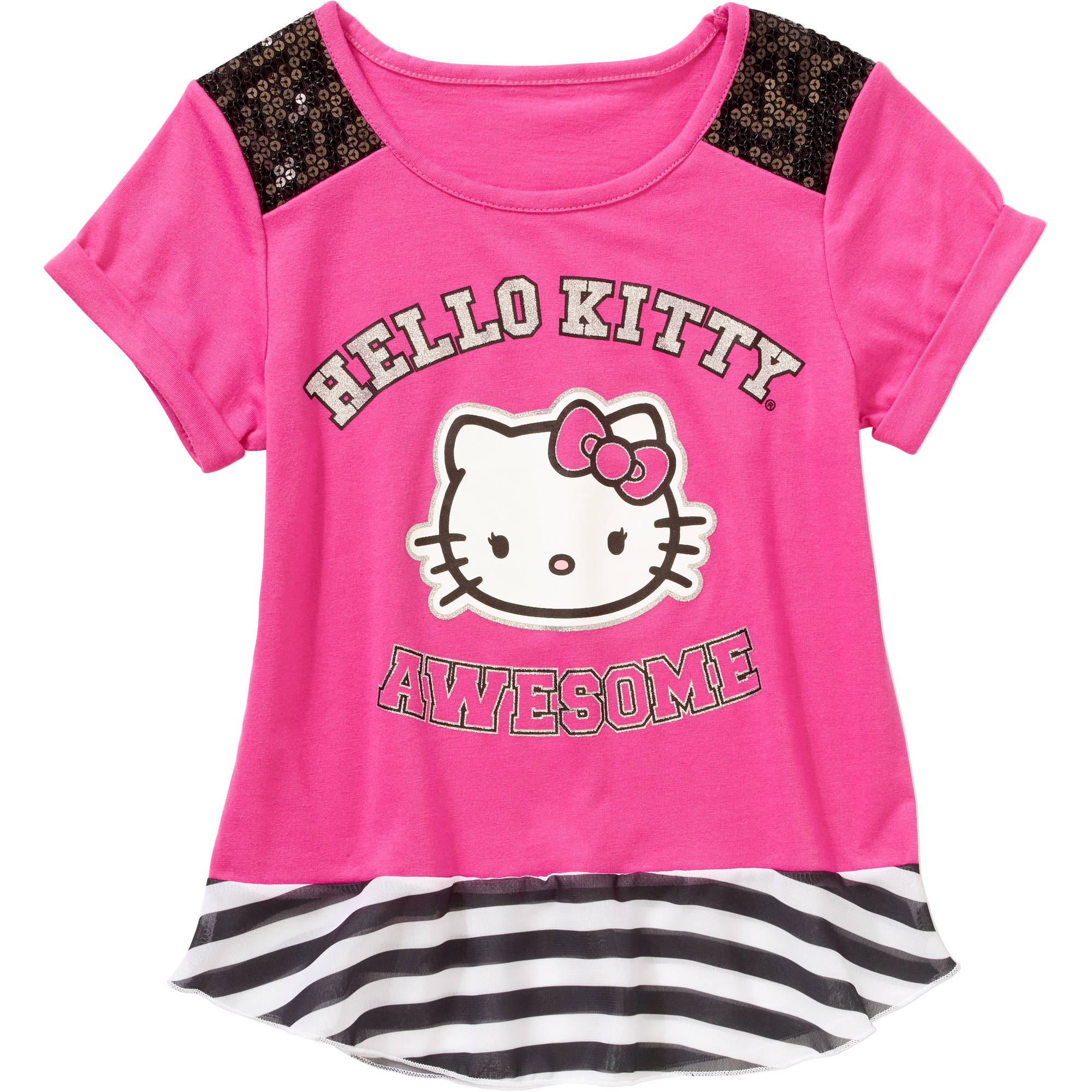 Hello Kitty Girls' Short Sleeve Sequence Shoulder Top