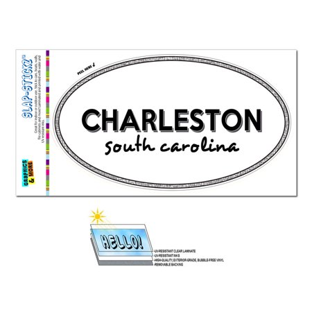 Charleston, SC - South Carolina - Black and White - City State - Oval Laminated Sticker](Halloween Parties Charleston Sc)