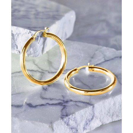 25mm 18k Gold Plated Sterling Silver Classic French Lock Hoops