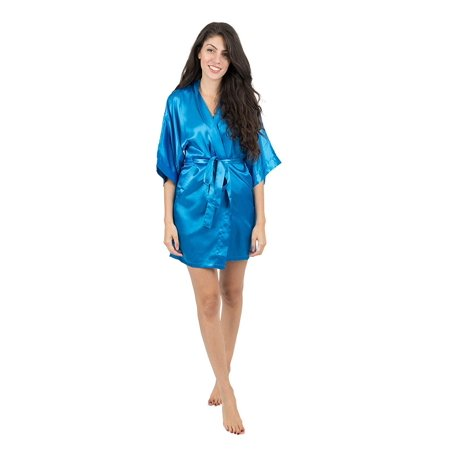 Leveret Womens Robe Christmas Satin Robe Royal Blue Size X-Small