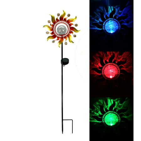 Solar Powered Metal Sunray Garden Stake with Color Changing LED Light Glass Crackle Ball ()