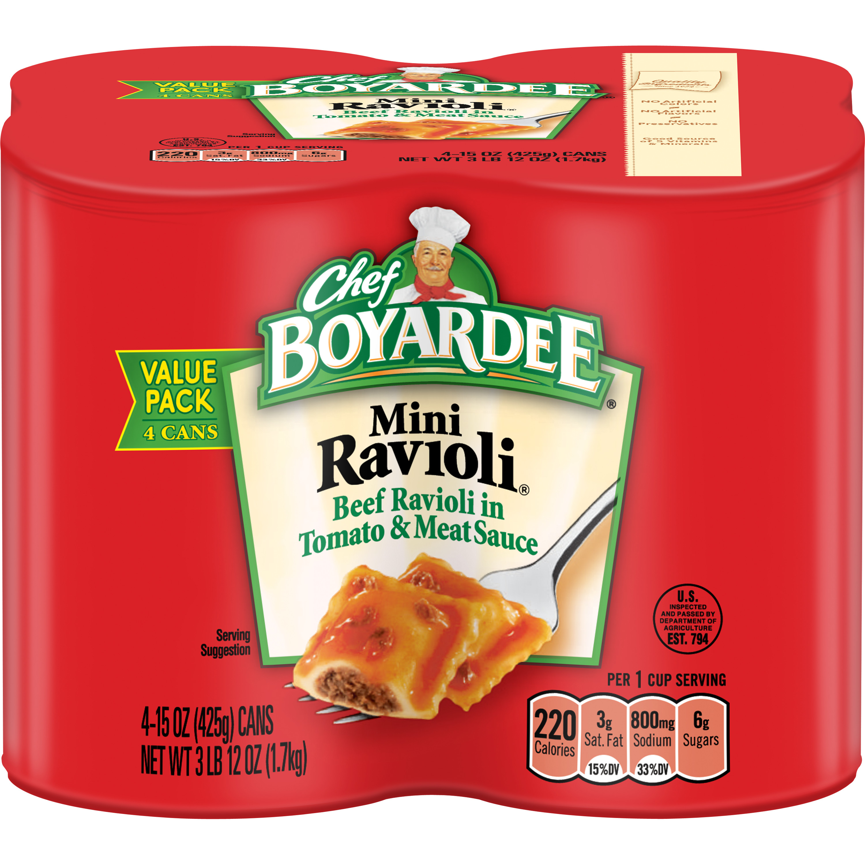 Chef Boyardee Mini Ravioli, 15 oz, 4 Pack