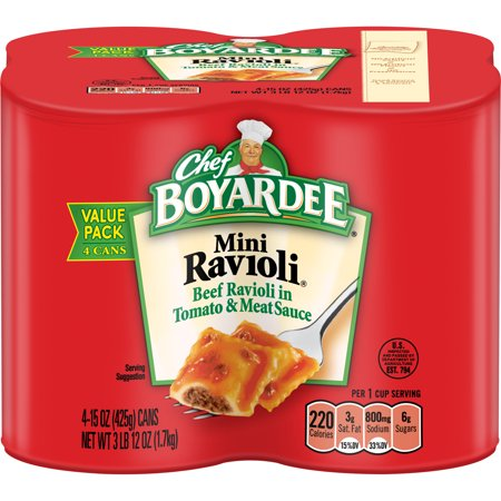 (3 Pack) Chef Boyardee Mini Ravioli, 15 oz, 4 Pack (Chef Zakir)