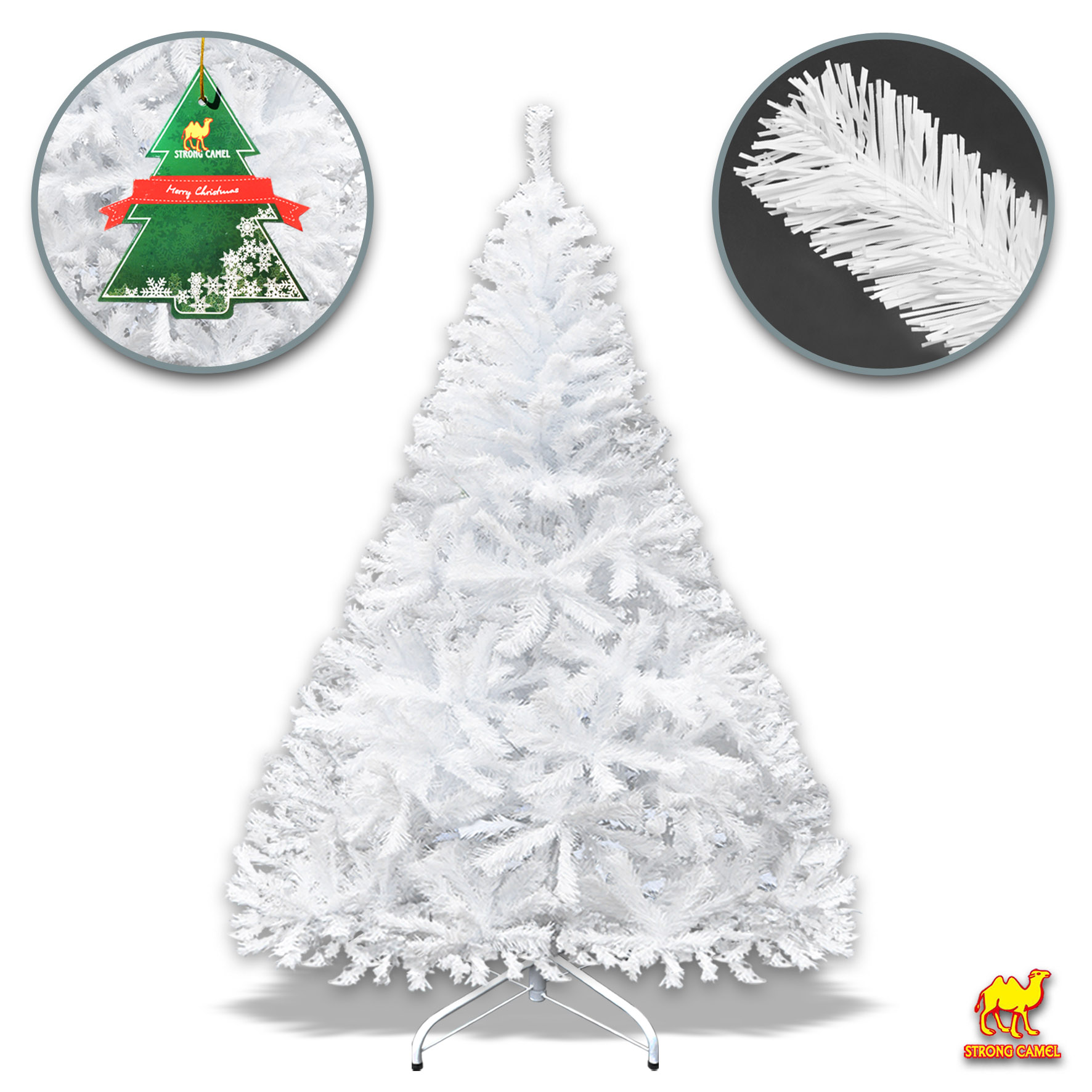 Strong Camel 7FT Unlit White Artificial Christmas Tree ...