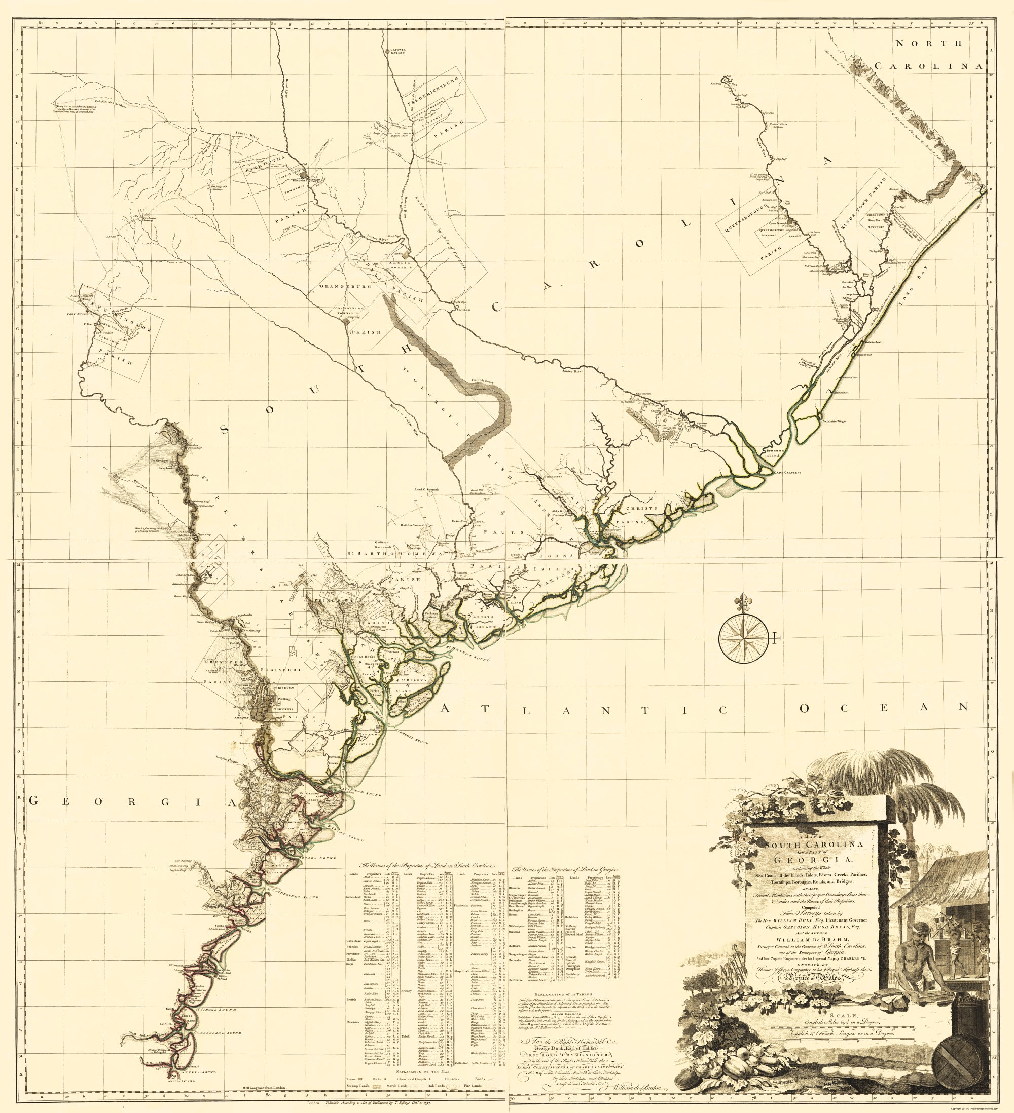 Old State Map - South Carolina, Part of Georgia - Jefferys 1757 - 23 x 25.26