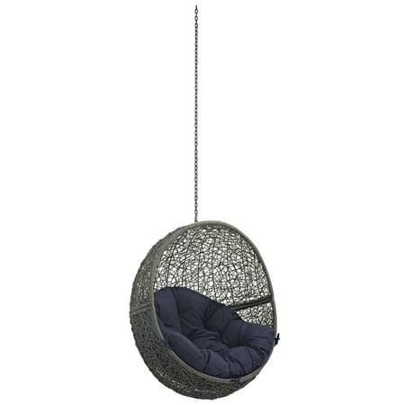 Modern Contemporary Urban Design Outdoor Patio Balcony Swing Chair, Navy Blue, Rattan ()