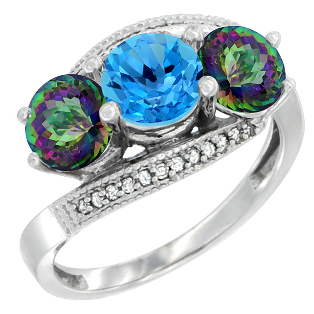 10K White Gold Natural Swiss Blue Topaz & Mystic Topaz Sides 3 stone Ring Round 6mm Diamond Accent, sizes 5 10 by WorldJewels