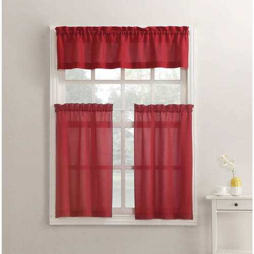 24 Tailored Tier Curtains (Mainstays Solid 3-Piece Kitchen Curtain Tier and Valance Set )