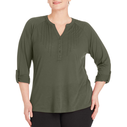 Women S Plus Size Pintuck Henley With Rolled Sleeves