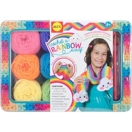 Crochet A Rainbow Scarf Kit - Double Crochet Scarf