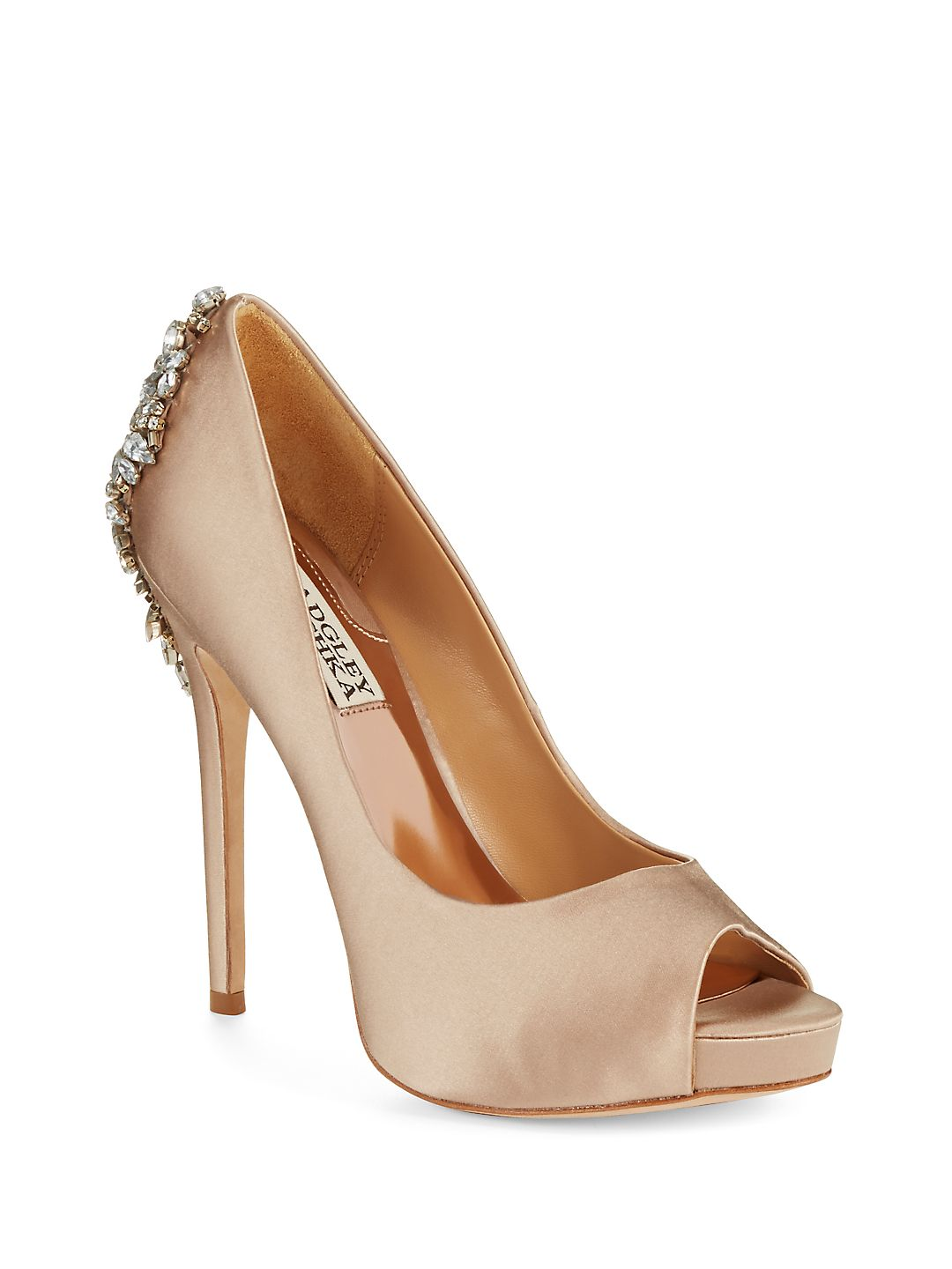 Kiara Jeweled Satin Peep-Toe Pumps