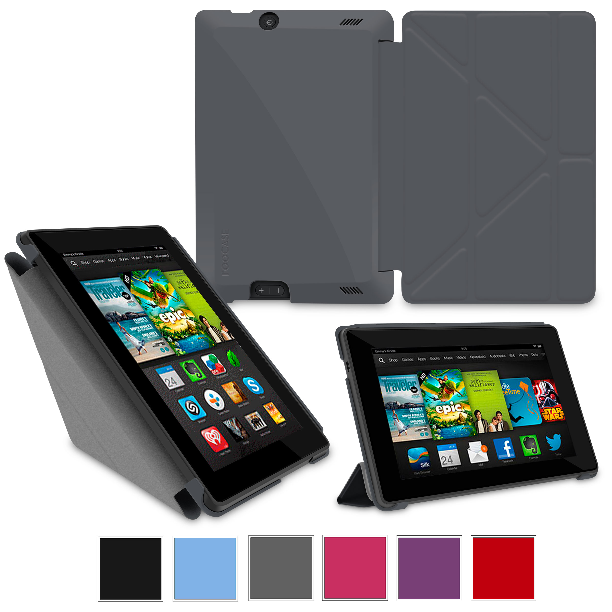 "rooCASE Amazon Kindle Fire HD 7 Case - (2013 Previous Generation) Origami Slim Shell 7-Inch 7"" Cover with Landscape, Portrait, Typing Stand - GRAY"