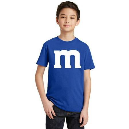 M Halloween Team Costume Funny Party Youth T-shirt, Youth L, Royal - Halloween Party Funny