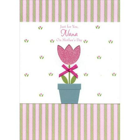 Designer Greetings Die Cut Flower and Pink Ribbon: Nana Mother's Day Card - Die Cut Cards