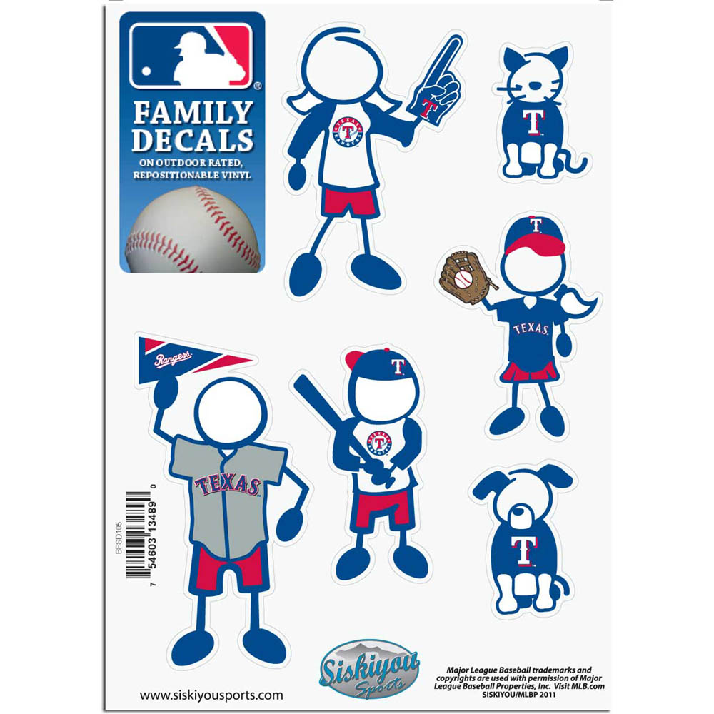 Texas Rangers Official MLB Small Family Decal Set by Siskiyou 134890