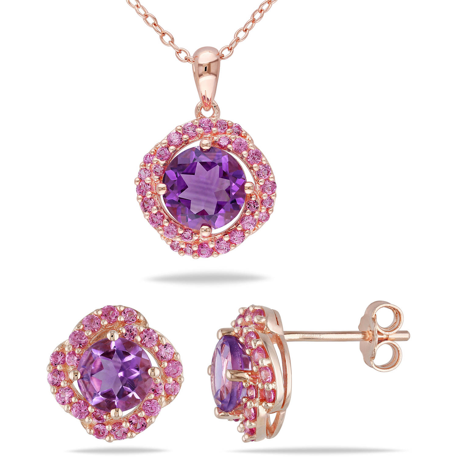 Tangelo 3-3 4 Carat T.G.W. Amethyst and Created Pink Sapphire Rose Rhodium-Plated Sterling Silver Halo Pendant and... by Tangelo