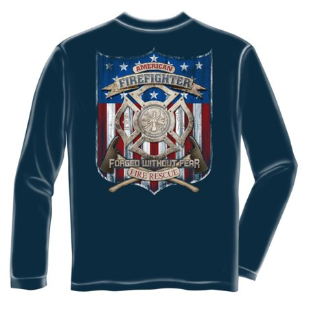 American Firefighter Fire Rescue Long Sleeve T Shirt  By Erazor Bits  Blue