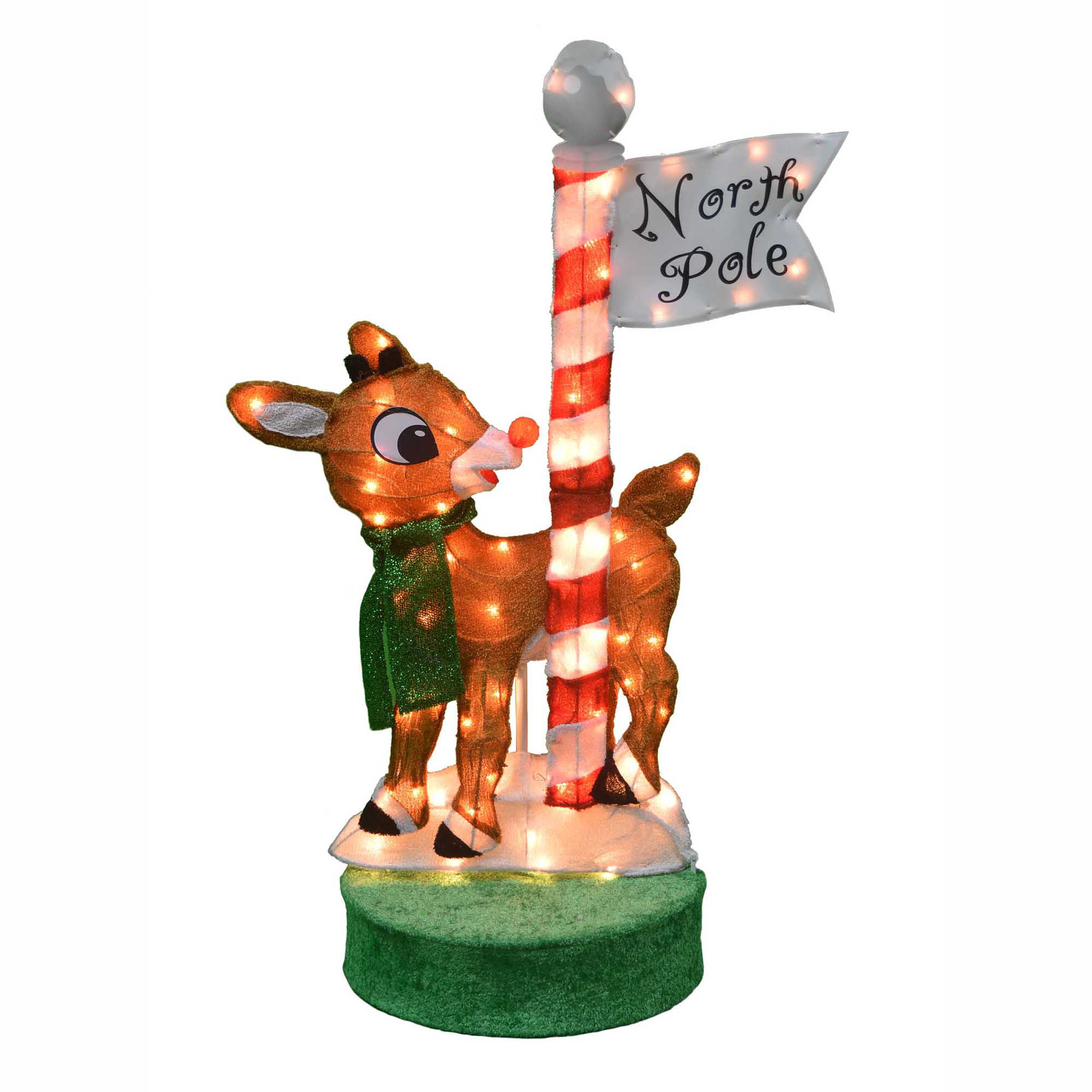 """Outdoor Christmas Decorations Images: 36"""" Oscillating Lighted Rudolph At The North Pole"""
