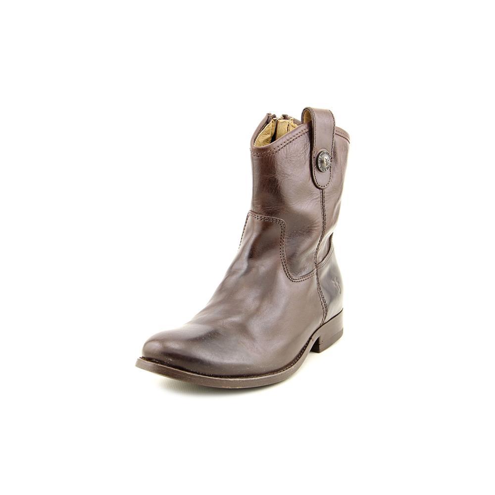 Frye Melissa Button Short Women  Round Toe Leather Brown ...