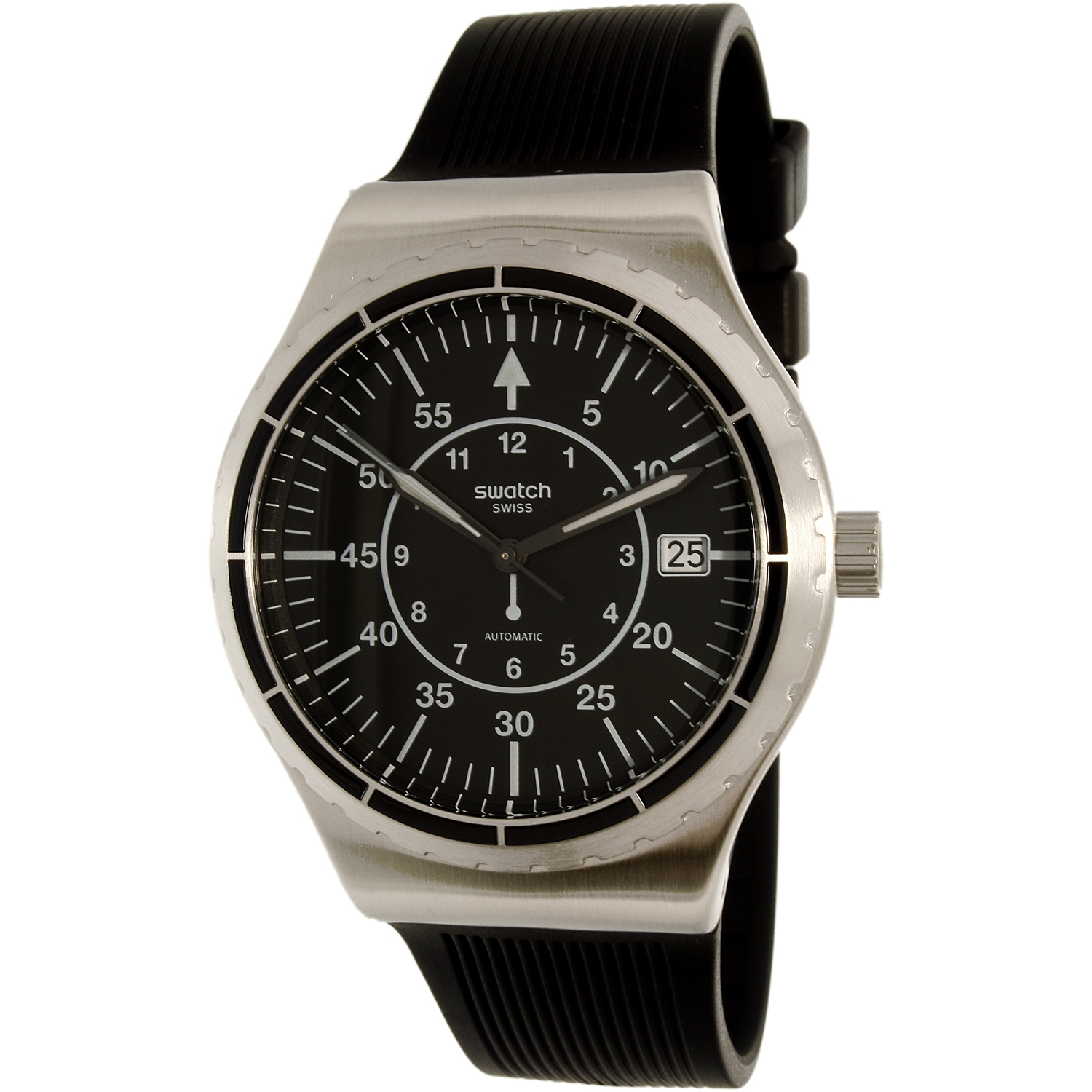 Swatch Men's Sistem51 Irony YIS403 Black Rubber Swiss Quartz Dress Watch by Swatch