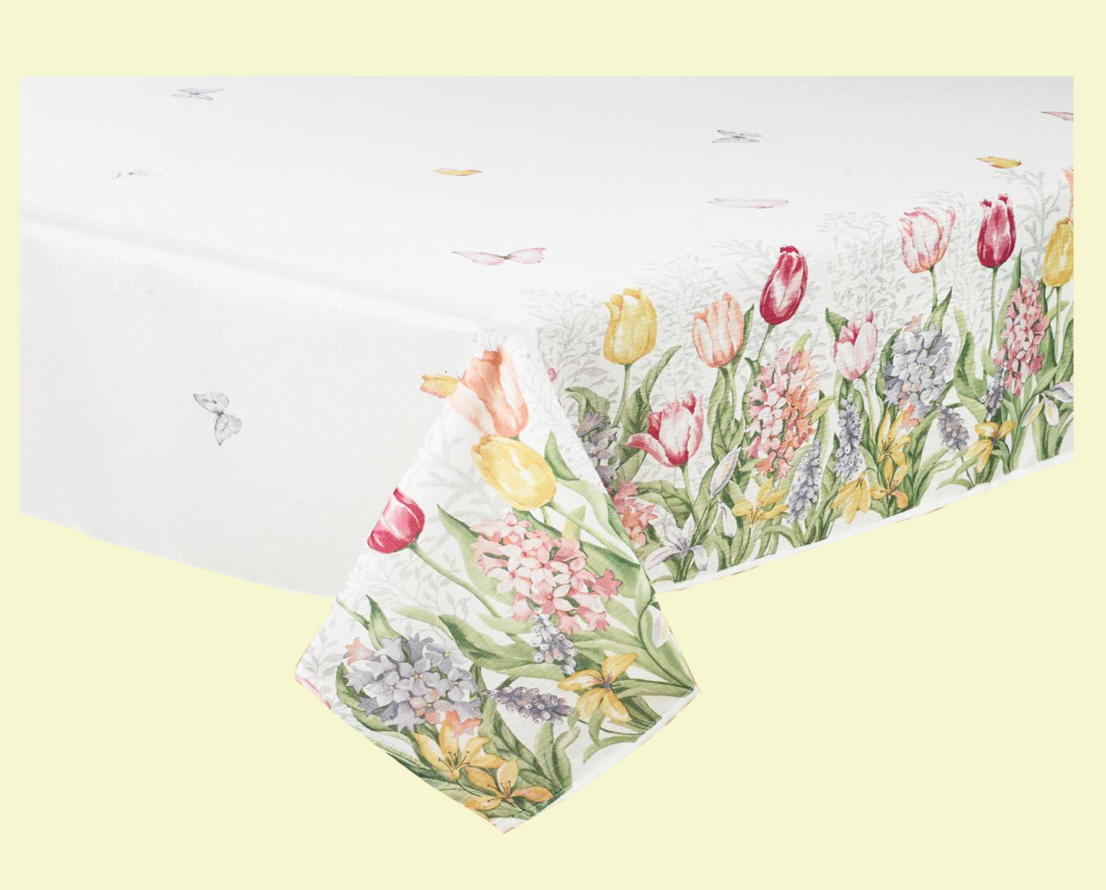 Mint Green Rectangle Tablecloth Spring Splendor Tulip Butterflies 60 x 84 Easter