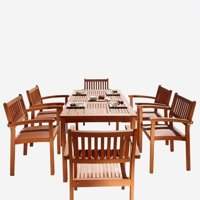 Deals on Malibu Outdoor 7-pc Wood Patio Dining Set w/Stacking Chairs
