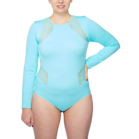Active Power Control - Under Control Women's Plus Active Seamless Scoop Neck Long Sleeve Bodysuit With Fish Net Detail