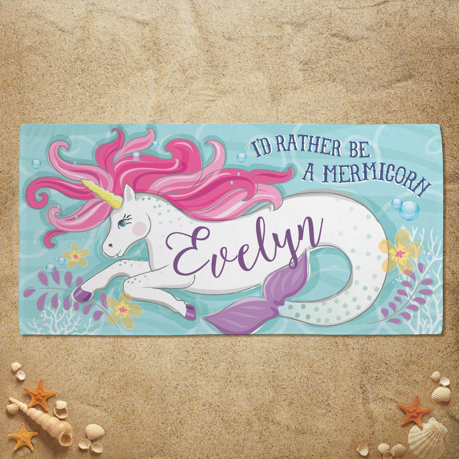 I'd Rather Be A Mermicorn Personalized Kids Beach Towel