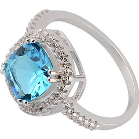Pori Jewelers Swarovski Elements 14kt White Gold-Plated Cushion-Cut December Blue Zircon Ring