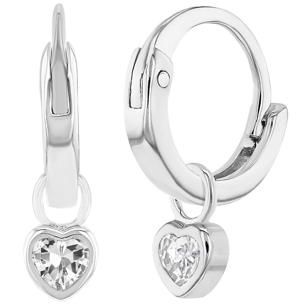 925 Sterling Silver Cz Heart Charm Baby Hoop Earrings Toddlers S 0 31