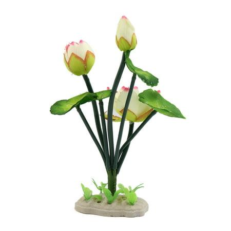 White Plastic Lotus Flower Aquarium Fish Tank Decor Aquatic Ornament