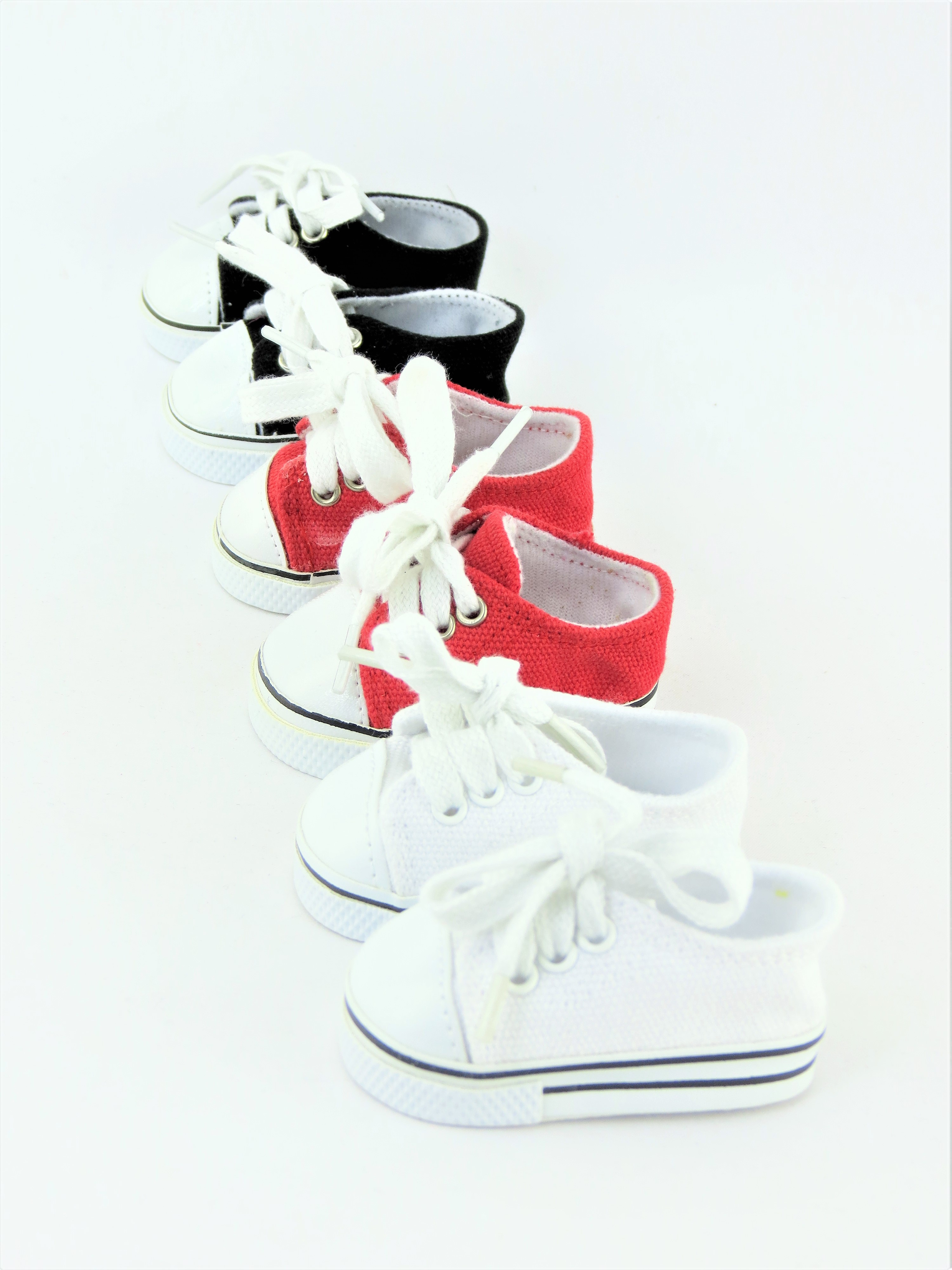 "3 Pair Low Top Sneakers White, Black, & Red- Fits 18"" American Girl Dolls, Madame... by"