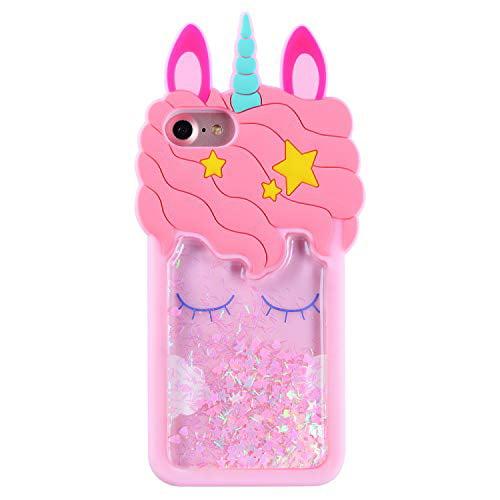 Mulafnxal Quicksand Unicorn Case for iPhone 7 8 6,Soft Silicone 3D Cartoon Cute Animal Cover,Kids Girls Bling Glitter Vivid U