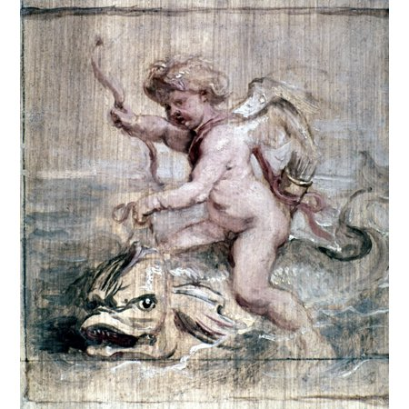 Rubens Cupid On Dolphin Ncupid Riding A Dolphin Oil On Board By Peter Paul Rubens 1636 Poster Print By Granger Collection