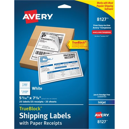 Avery Shipping Labels w/Paper Receipt, TrueBlock, 5 1/16 x 7 5/8, White, 25/Pack