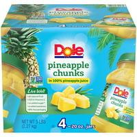 (4 pack) Dole Pineapple Chunks in Juice, 20 oz. jars